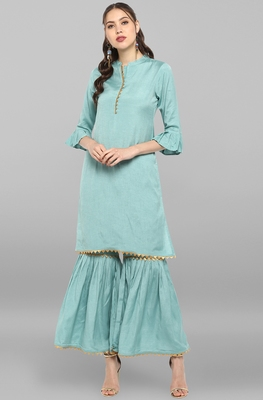 Janasya Women's Sea Green Rayon Slub Kurti With Sharara