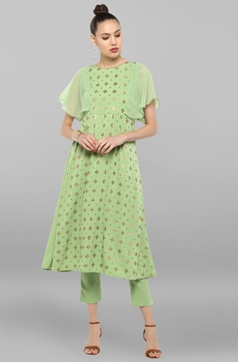 Janasya Women's Light Green Poly Crepe Kurta With Pant
