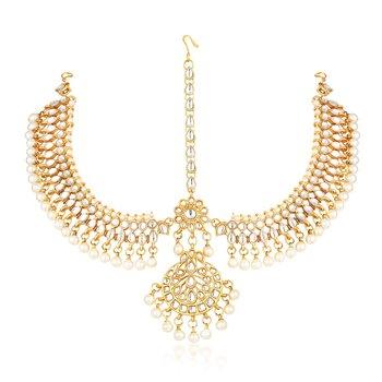 Gold diamond maang-tikka