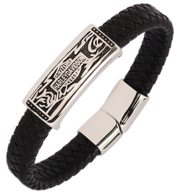 Surgical Stainless Steel Genuine Black Leather Wrist Band Bracelet for Men