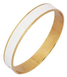 Solid Surgical Stainless Steel White Enamel 18k Gold Plated Kada for Men
