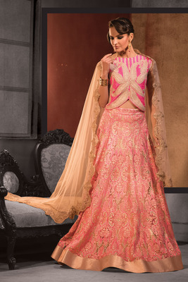 bf9dfdab0bbeb1 Pink raw silk choli with peach lace flared lehenga - mirraw test - 411850