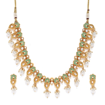 Green pearl necklace-sets