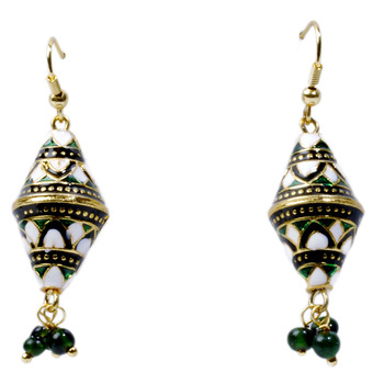 Royal Green And White Ear Ring For Your Mother