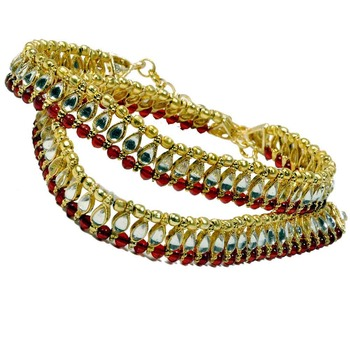 Red Golden Kundan Brass Payal Gift For Mother