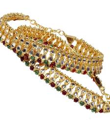 Buy Designer Kundan Brass Payal For Mothers Day gifts-for-mom online
