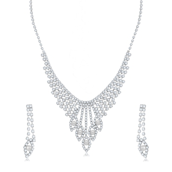 Silver diamond necklace-sets