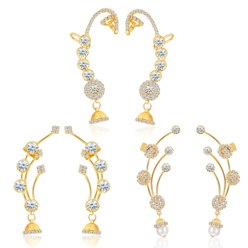 Gold diamond ear-cuffs