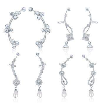 White diamond ear-cuffs