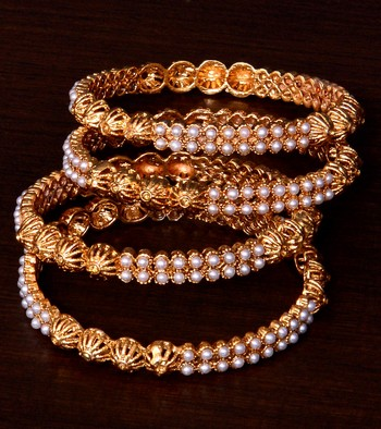 Gold Plated Pearls Embellished Designer Bangles BD383