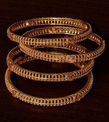 Gold Plated Stone Embellished 2 Pairs of Designer Bangles BD387