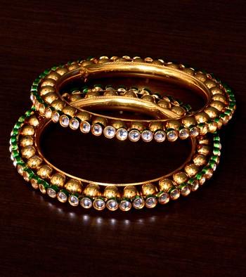 Gold Plated Golden Beads and Kundan Embellished Pair of Designer Bangles BD389