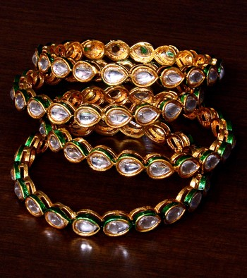 Gold Plated Kundan Embellished Two Pair of Designer Bangles BD390