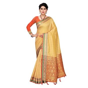 Beige woven Banarasi Art Silk saree with blouse