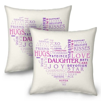 Heart Shape Word Print Cushions Pair For Daughter