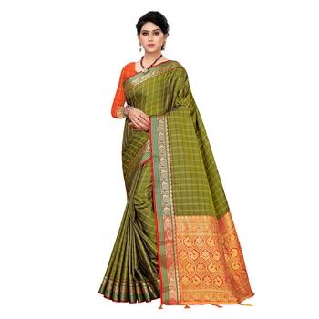 Dark green woven Banarasi Art Silk saree with blouse