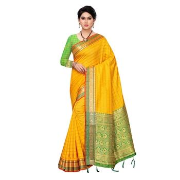 Yellow woven Banarasi Art Silk saree with blouse