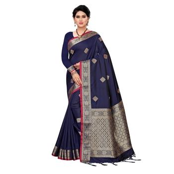 Navy blue woven Banarasi Art Silk saree with blouse