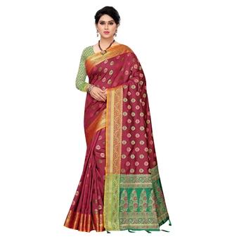 Maroon woven Banarasi Art Silk saree with blouse