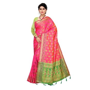 Pink woven Banarasi Art Silk saree with blouse