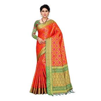 Multicolor woven Banarasi Art Silk saree with blouse