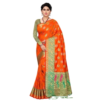 Orange woven Banarasi Art Silk saree with blouse