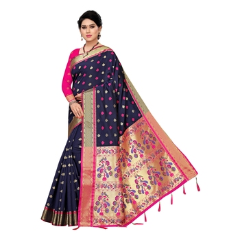 Navy blue woven Banarasi Art Silk saree with blouse