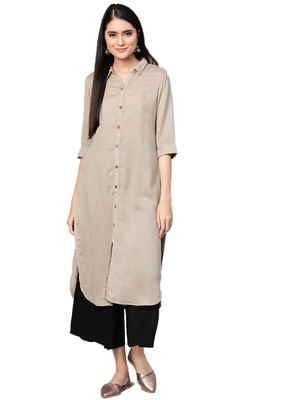 Beige printed rayon kurtas-and-kurtis