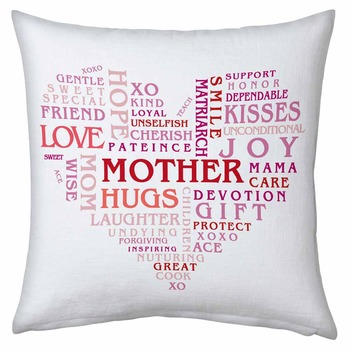 Heart Shape Word Collection Cushion For Mother
