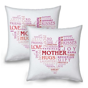 Heart Shape Word Printed Cushions Pair For Mother