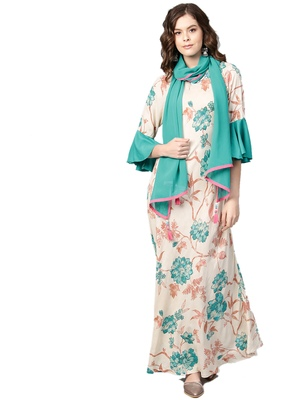Teal printed rayon long-kurtis