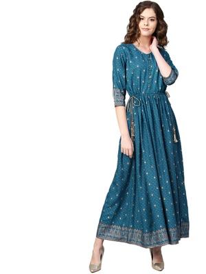 Royal-blue printed rayon long-kurtis