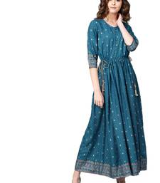 Royal-blue printed rayon long-kurtis