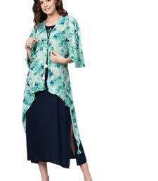 Navy-blue printed rayon long-kurtis