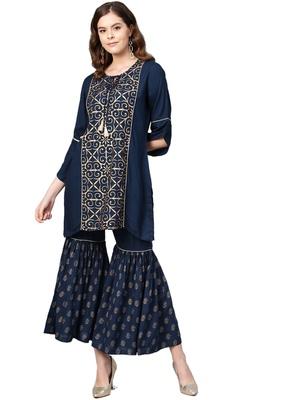 Navy-blue printed rayon salwar