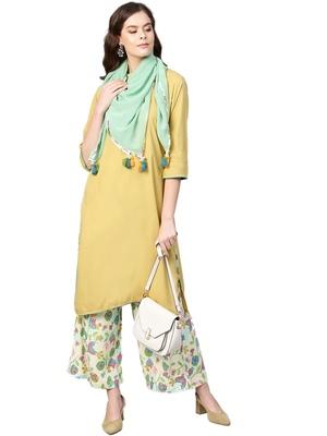 Yellow printed rayon salwar