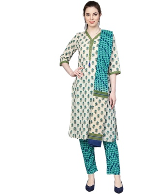 Off-white floral print cotton salwar