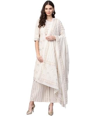 Ivory foilage print cotton salwar