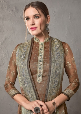 Brown digital print kota doria salwar
