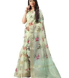 Pista green printed organza saree with blouse
