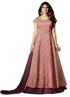 Mauve embroidered silk salwar