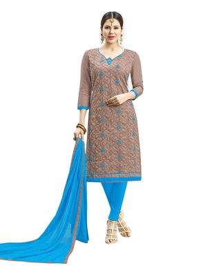 Light brown embroidered cotton salwar