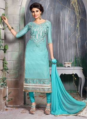 Sky blue embroidered chanderi salwar