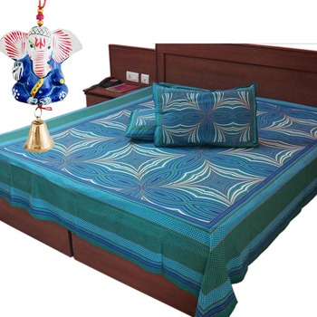 Gold Print Jaipuri Double Bedsheet Mother Day Gift