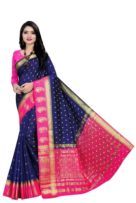 Blue woven pure silk saree with blouse