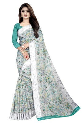 Sky White Linen Floral Printed Saree With weaving lace.