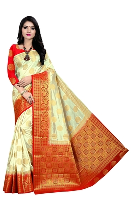 Beige woven pure silk saree with blouse