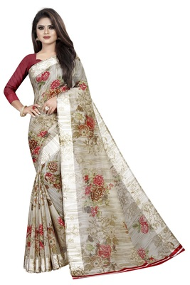 Maroon and Offwhite Linen Floral Printed Saree With Blouse Piece.