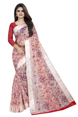 Red and Off White Linen Floral Prints Saree With Blouse Piece.
