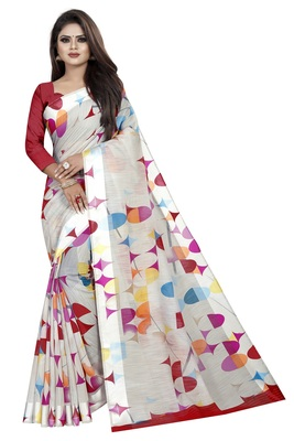 Multi Color Linen Geometrical Printed Saree With Blouse Piece.